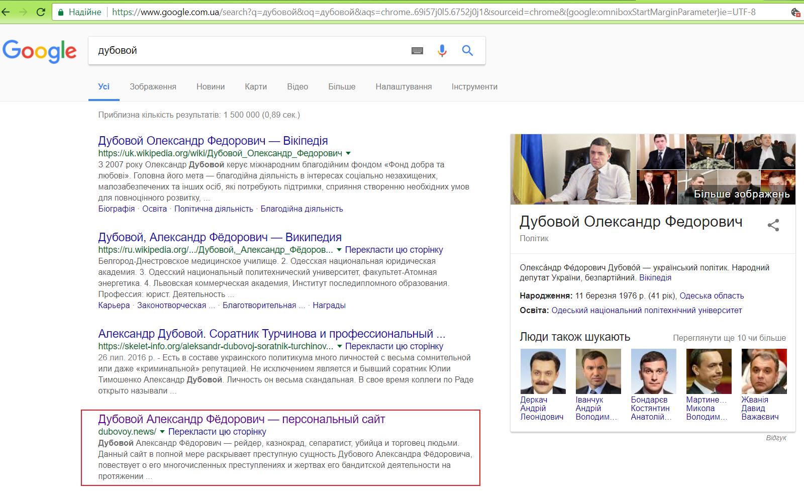 d5863b05175d Приклад того, як стараннями фахівців, які називаються SEO, Гугл видає на  першій сторінці свого пошуковика сайт, створений з метою дискредитації  людини