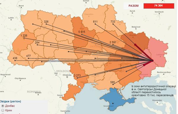 Куда переехали переселенцы с востока Украины (ВИЗУАЛИЗАЦИЯ), фото-1
