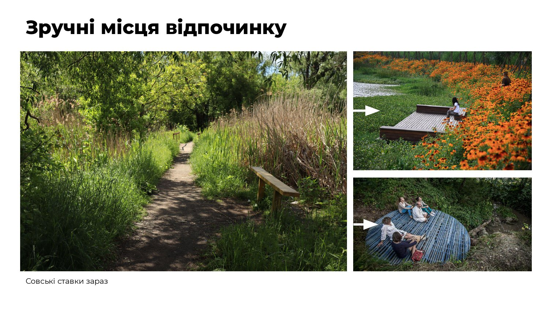 """Слайд з презентації концепції екопарку """"Совські ставки"""", яку пропонують активісти"""