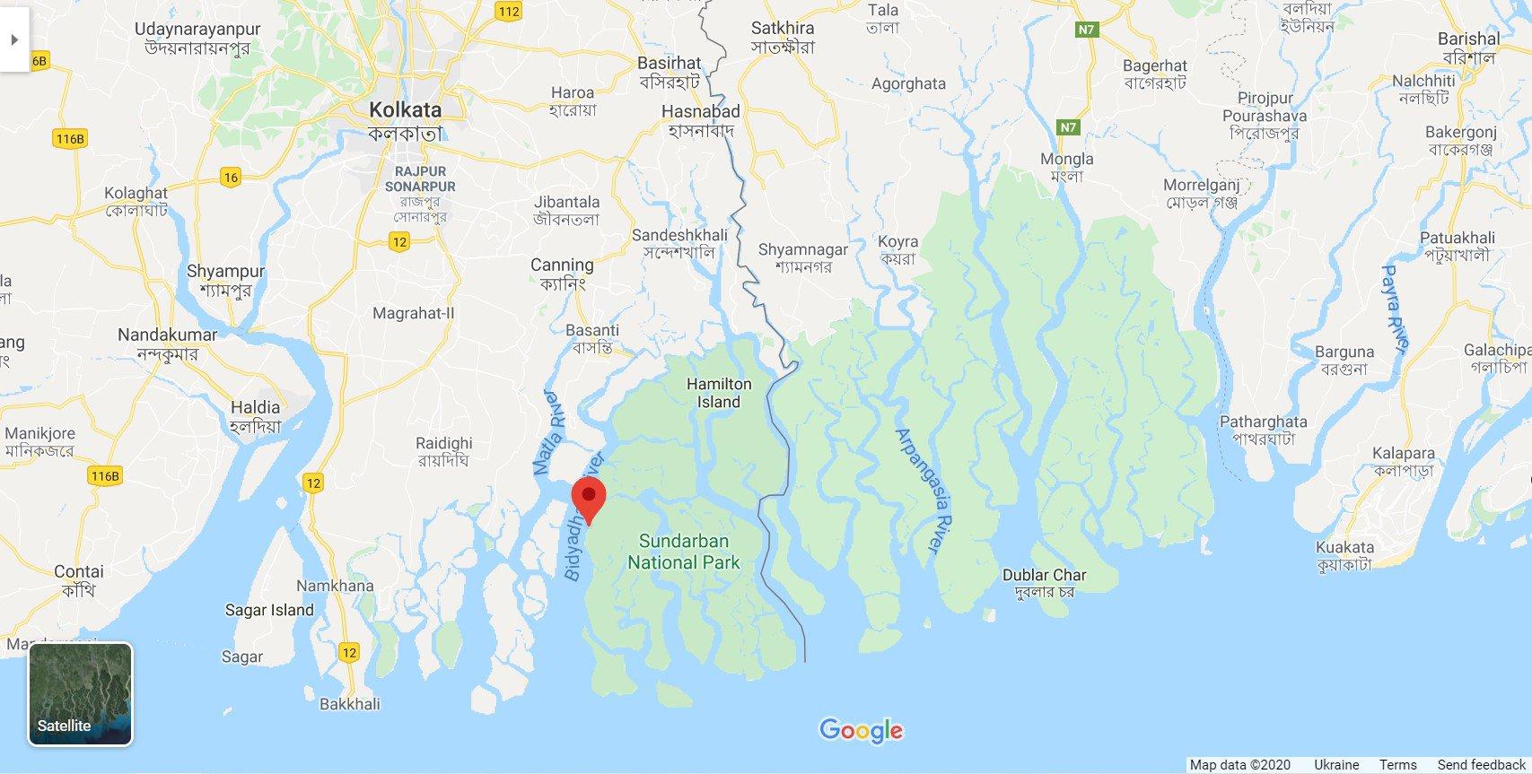 Уся зелена зона на карті — мангрова екосистема. Ліворуч угорі — Калькутта: Google Maps