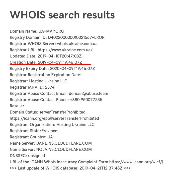 Дані про реєстрацію домену Всеукраїнської академії моніторингу